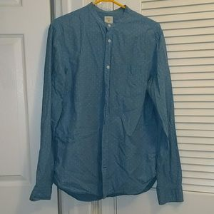 Gap mandarin collar patterned chambray button down